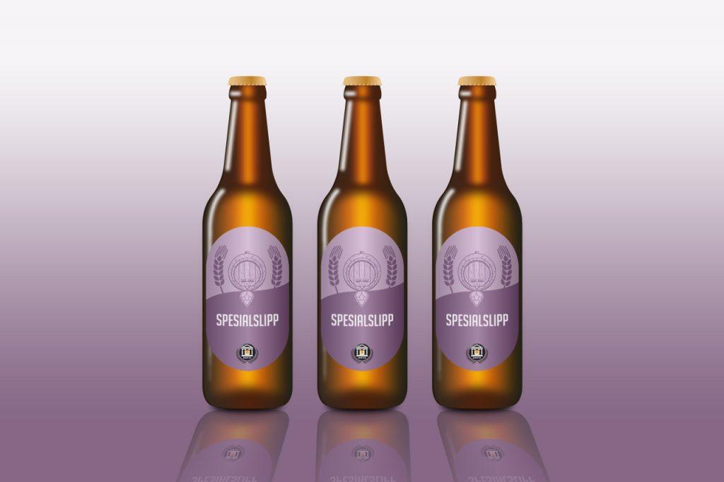 Illustrerte flasker med øl merket spesialslipp.